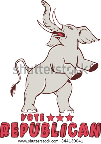 Illustration of a republican elephant mascot of the republican party prancing looking up to the side set on isolated white background done in cartoon style with words Vote Republican. - stock vector