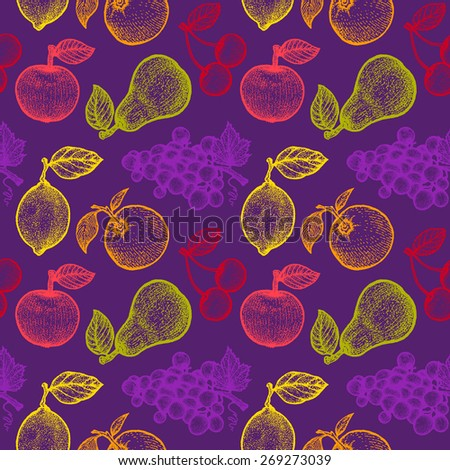 illustration of a retro fruits pattern - stock vector