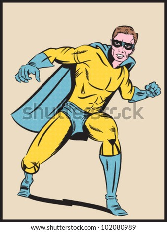 Illustration of a Retro Style Super Hero - Separate dot and solid color layers - stock vector