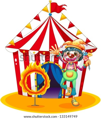 Illustration of a ring of fire and a clown in front of a circus tent on a white background