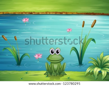 Illustration of a river and a frog in a beautiful landscape - stock vector