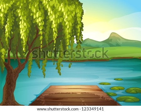 Illustration of a river and a wooden bench in a beautiful nature - stock vector