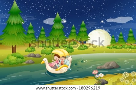 Illustration of a river with a floating boat with kids - stock vector