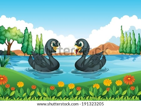 Illustration of a river with two ducks - stock vector
