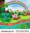 Illustration of a riverbank with flowers and a rainbow - stock vector