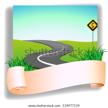 Illustration of a road with a signage on a white background