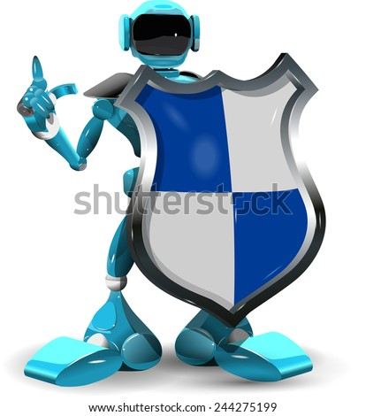 Illustration of a robot with a shield - stock vector