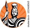 Illustration of a roman centurion soldier fighting with spear and shield done in retro woodcut style set inside circle. - stock photo