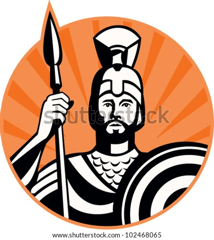 Illustration of a roman centurion soldier fighting with spear and shield done in retro woodcut style set inside circle. - stock vector