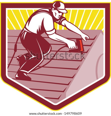 Illustration of a roofer construction worker roofing working on house roof with nail gun nailgun nailer done in retro style. - stock vector