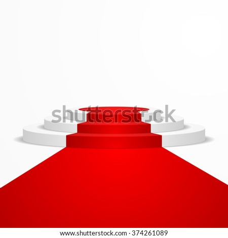 illustration of a round podium with a red carpet leading to it, eps10 vector - stock vector
