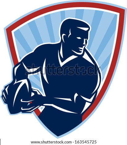 Illustration of a rugby player running about to pass the ball done in retro style set inside shield. - stock vector
