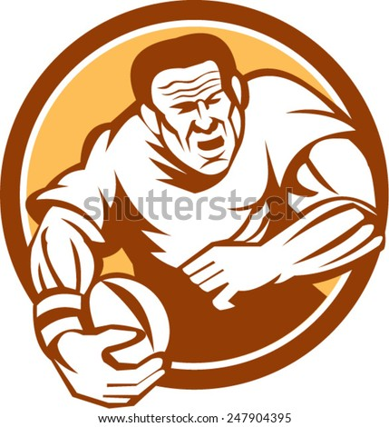 Illustration of a rugby player with ball running attacking set inside circle on isolated background done in retro woodcut linocut style. - stock vector