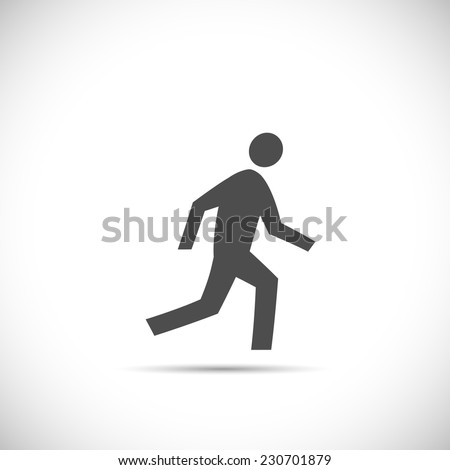 Illustration of a running figure isolated on a white background. - stock vector