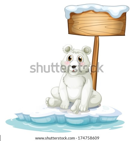 Illustration of a sad bear above the iceberg with an empty signboard on a white background - stock vector