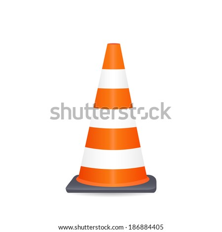 Illustration of a safety cone isolated on a white background. - stock vector