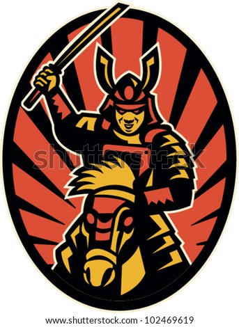 Illustration of a samurai warrior riding horse attacking with katana sword done in retro style set inside ellipse