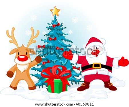 Illustration of a Santa Claus with Rudolph near Christmas tree... - stock vector