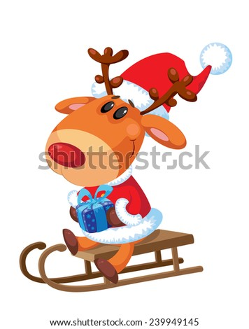 illustration of a Santa sitting on a sled - stock vector