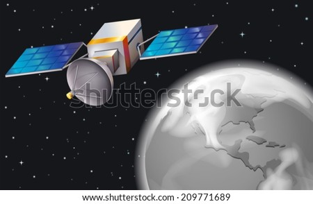 Illustration of a satellite in the outerspace
