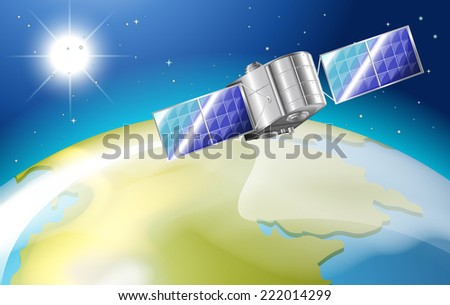 Illustration of a satellite outside the earth