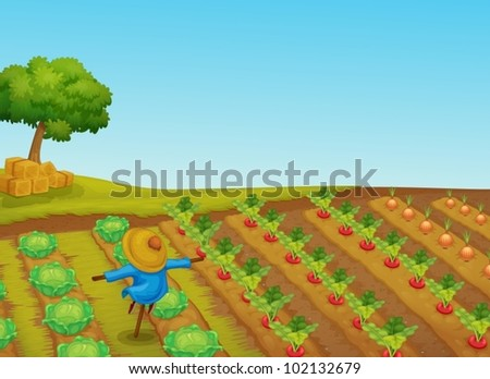 Illustration of a scarecrow in a vegetable patch - stock vector