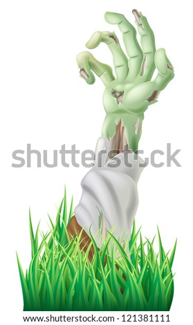 Illustration of a scary decaying zombie arm reaching out of the ground - stock vector