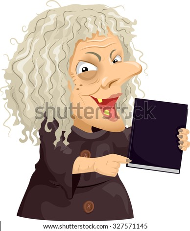 Illustration of a Scary Old Hag Holding a Black Book