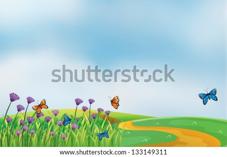 Illustration of a scenery at the top of the hill - stock vector