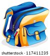 illustration of a school bag on a white background - stock photo