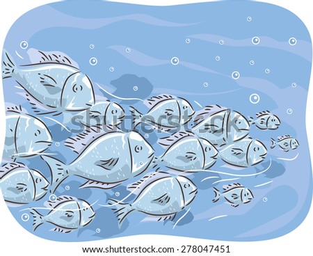 Illustration of a School of Fish Swimming Together
