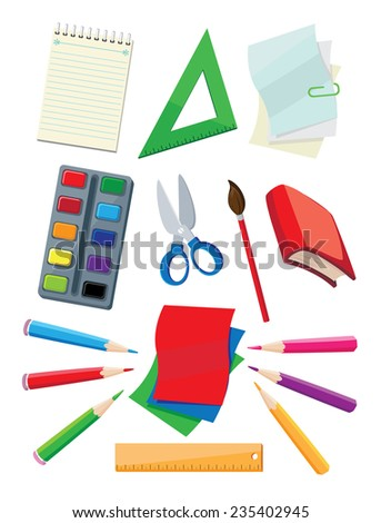 illustration of a school supplies - stock vector