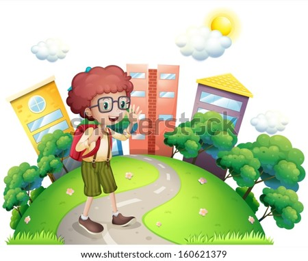 Illustration of a schoolboy waving while walking at the road on a white background - stock vector