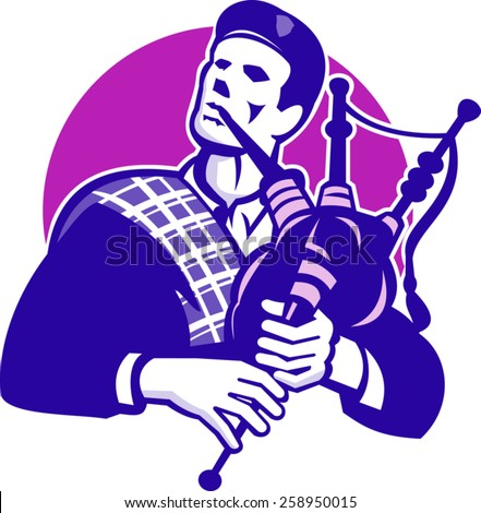 Illustration of a scotsman scottish scot piper bagpiper playing bagpipes viewed from front done in retro style set inside circle. - stock vector
