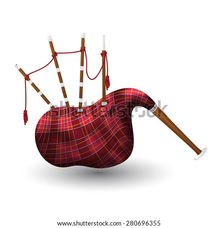 Illustration of a scottish bagpipe isolated on white - stock vector
