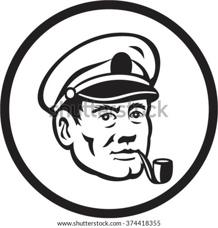 Illustration of a sea captain, shipmaster, skipper, mariner wearing hat cap smoking smoke pipe set inside circle in black and white done in retro style.