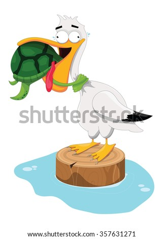 Illustration of a sea turtle choking a pelican - stock vector