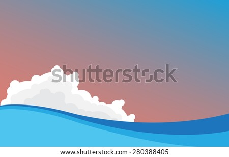 Illustration of a sea with waves - stock vector