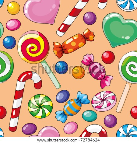 illustration of a seamless pattern candies - stock vector