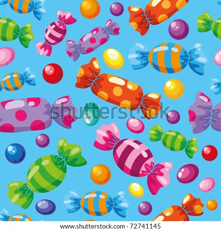 illustration of a seamless pattern candies blue - stock vector
