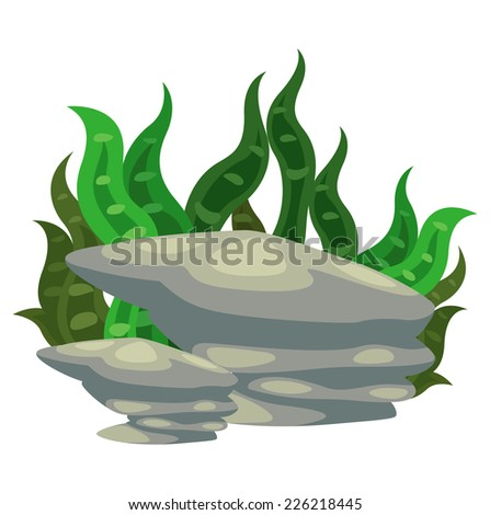 Illustration of a seaweed with stone vector - stock vector