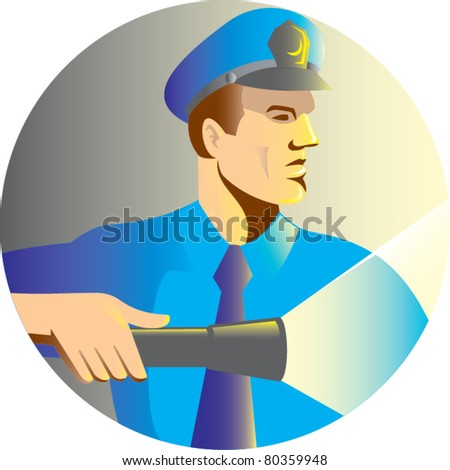 illustration of a Security guard policeman officer pointing a torch flashlight viewed from side set inside circle done in retro style - stock vector