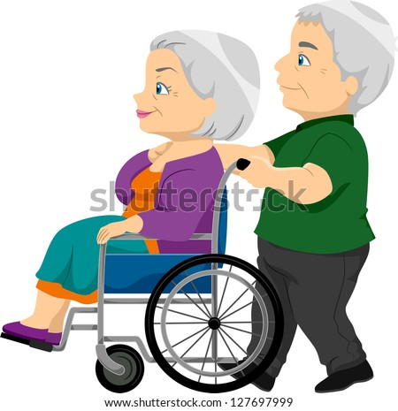 Illustration of a Senior Couple with the Old Lady on the Wheelchair