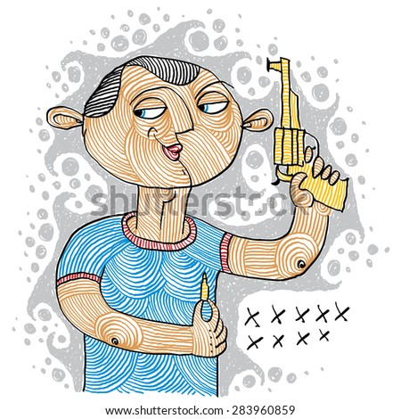 Illustration of a serial killer holding a gun and ammunition for it. Conceptual drawing of a shooter, revolutionary allegory. Vector hand-drawn picture. - stock vector