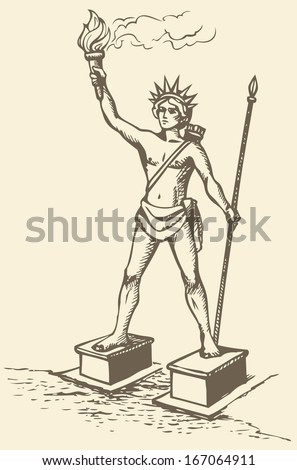 Illustration of a series of vector drawings for the Seven Wonders of the Ancient World. Colossus of Rhodes, a statue of the Greek Titan Helios, erected in the city of Rhodes, on the Greek island - stock vector