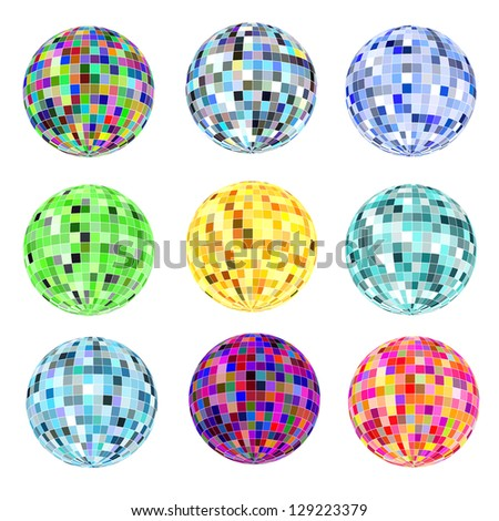 illustration of a set of balls of different colors for a disco on a white - stock vector