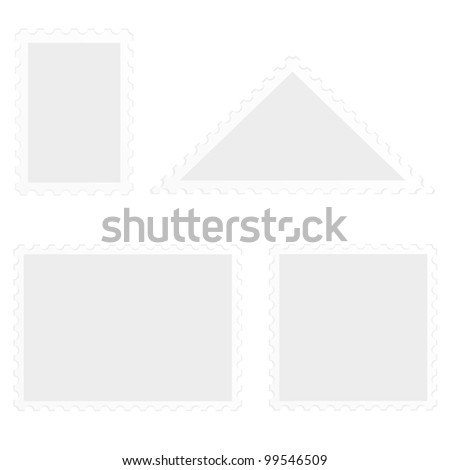 illustration of a set of blank stamps, isolated on white - stock vector