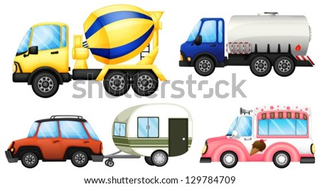 Illustration of a set of cars on a white background - stock vector