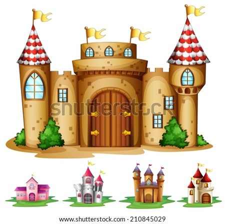 Illustration of a set of castles - stock vector