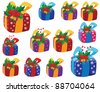 illustration of a set of Christmas gifts box - stock vector